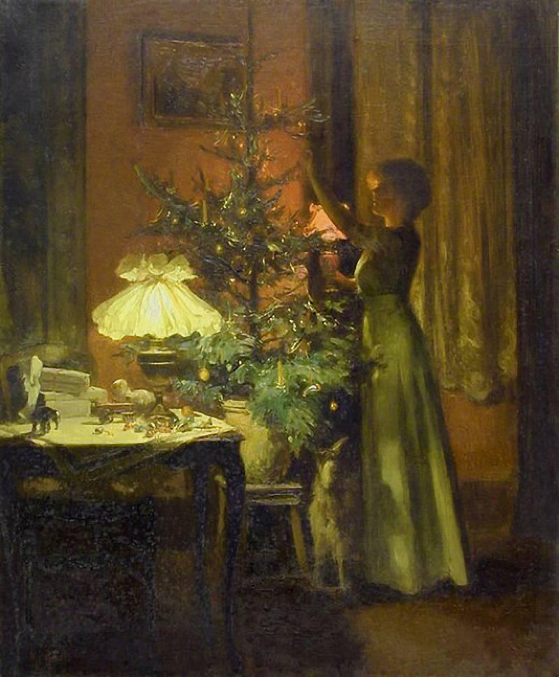 Marcel Rieder – Zdobení vánočního stromku, 1898, básničky o Vánocích